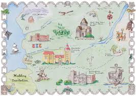 Map Wedding Invitations Bespoke Commissions Of Flowers Fairytale Maps Churches Venues