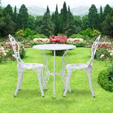 white ikayaa patio outdoor bistro 3pcs iron aluminum cafe table
