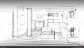 technical drawing room interior hasan khan rendering b w