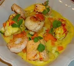 cuisine de fabrice nage de poissons et crustacés au safran petits légumes croquants