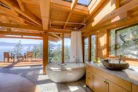 bathroom skylights and wood ceilings with ceiling beams also
