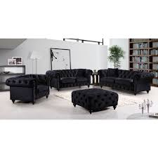 Navy Tufted Sofa by Meridian Furniture 662bl S Chesterfield Tufted Black Velvet Sofa W