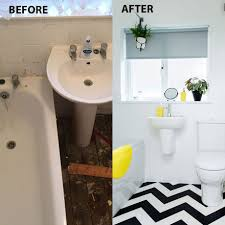 before and after a chevron floor works wonders in this updated