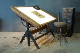 Light Drafting Table Vintage Industrial Tilt Top Drafting Desk Drawing Table