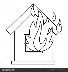 house on fire icon outline style u2014 stock vector ylivdesign
