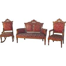 Vintage Settee Loveseat Antique Eastlake Victorian Settee Sofa And Two Chairs Antique