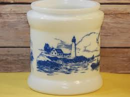 vintage delft milk glass humidor blue white dutch windmill