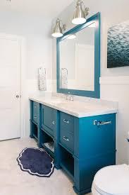 blue kids bathroom vanity with blue mirror cottage bathroom