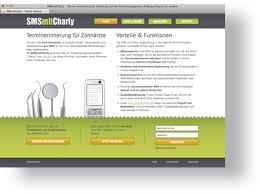 webseiten design referenz smsmitcharly terminerinnerung für zahnärzte