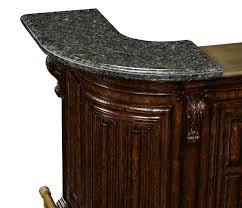 Home Bar Furniture by Home Bar Oak Wood Granite Top With Brass Rail