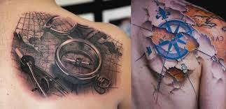 tattoo compass realistic realistic compass and map tattoo on upper back