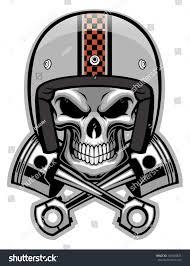 skull motocross helmet skull crossed piston stock vector 201648833 shutterstock