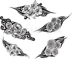 tribal flower tattoos stock vector colourbox