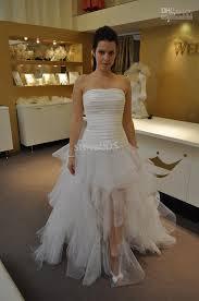 hem wedding dress discount unique design high low hem square neck tulle wedding