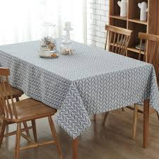 Dining Room Tablecloth Cotton Linen Print Check Grid Tablecloth Cover Table Deco Black