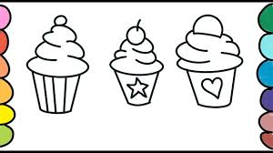 how to draw three cupcakes coloring pages learn drawing
