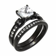 black promise rings images Couple ring set womens princess cz black promise ring mens wedding jpg