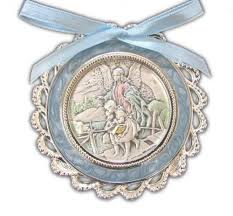 crib medal sterling silver salerni guardian angel blue bow