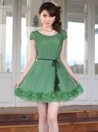 girls solid flower hem short sleeve dress