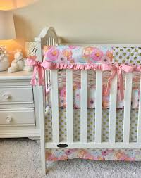watercolor floral crib rail cover pink crib rail cover gold dot