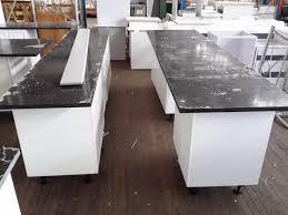 Black Granite Bench Tops Kitchen Suite Galley Style Kitchen With Breakfast Bar Silver