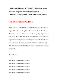 1998 2002 honda vt1100 c3 shadow aero service repair workshop manual u2026