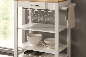 Kitchen Island On Casters Chefs Helper White Finish Wood Kitchen Island Cart With Natural