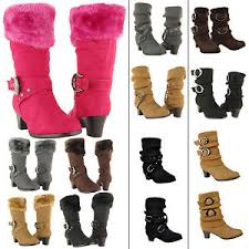 s shoes and boots size 9 mid calf high heel boots faux fur collar suede shoes