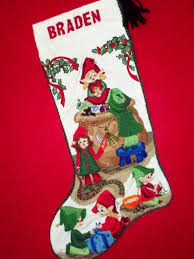 elves christmas stocking kit crewel stitch embroidery