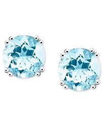 aquamarine earrings 14k white gold aquamarine stud earrings 3 ct t w earrings