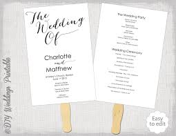 wedding program order wedding program fan template diy order of ceremony printable