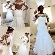 2016 new mermaid sheer back plus size african wedding dresses for