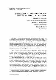 article cover letter impression management the resume and its cover letter springer