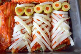 halloween theme foods ricotta and spinach stuffed mummy manicotti