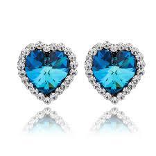 blue stud earrings blue heart swarovski stud earrings jewelry co