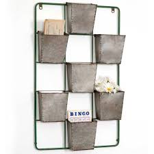 large rustic industrial style galvanized metal seven pocket wall
