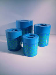 vintage retro blue grapic design tins canisters by counterpoint