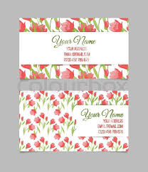 double sided floral business card template with tulips stock