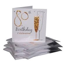 birthday party invitations pack of 6 80th birthday amazon co