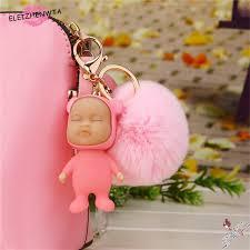 baby keychain sleeping baby doll keychain keyring rabbit fur