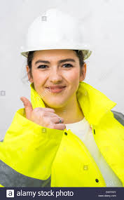 Construction High Visibility Clothing A Young Woman Construction Worker Wearing Hard Hat And High