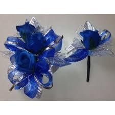 royal blue corsage royal blue silver silk corsage boutonniere set wedding or