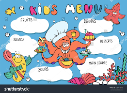 kids menu template funny cartoon sea stock vector 435418873
