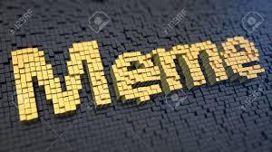 Meme Word - word meme of the yellow square pixels on a black matrix background