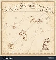 Seychelles Map Seychelles Old Treasure Map Sepia Engraved Stock Vector 494100175