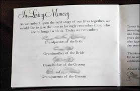 wedding program wording in loving memory wedding program wording evgplc