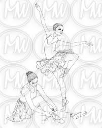 ballerina dance printable coloring page digital by bluekittycute