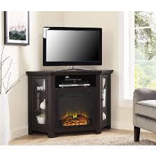 walker edison espresso wood corner fireplace media tv stand