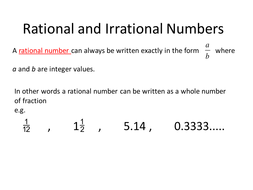 rational and irrational numbers by sjcooper teaching resources tes