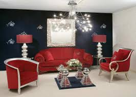 modern interior living room design ideas with red sofa cushion